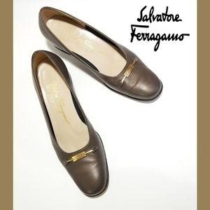 SALVATORE FERRAGAMO Brown Vintage Block Heel Pumps